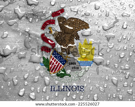 flag of Illinois with rain drops - stock photo