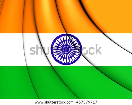 Flag of India. 3D Illustration.    - stock photo