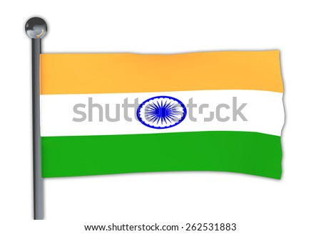Flag of India on a pole waving in the wind over white background - stock photo