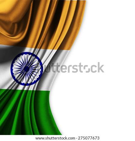 Flag of India on white background - stock photo