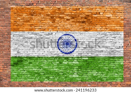 Flag of India painted over old brick wall - stock photo