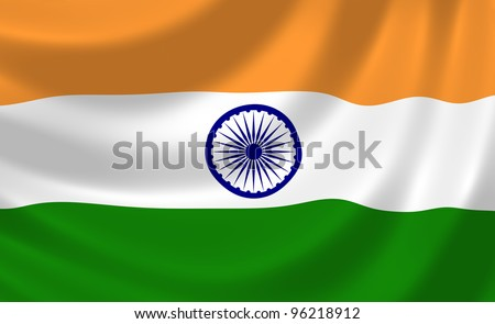 Flag of India waving in the wind detail - stock photo