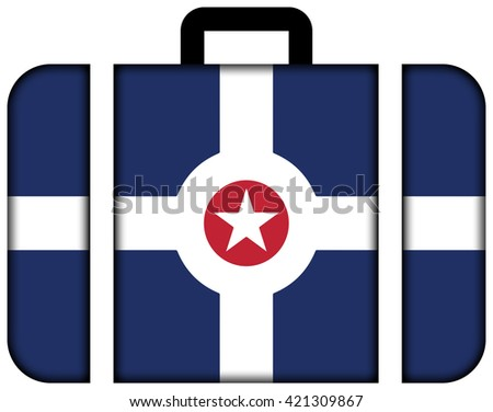 Flag of Indianapolis, Indiana. Suitcase icon, travel and transportation concept - stock photo