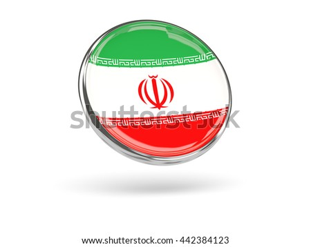 Flag of iran. Round icon with metal frame, 3D illustration - stock photo