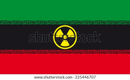 Flag of Iran with radiation sign - stock photo