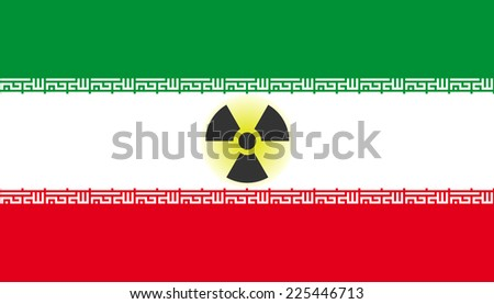 Flag of Iran with radiation symbol - stock photo