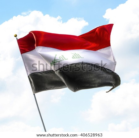 Flag of Iraq Raised Up in The Sky - stock photo
