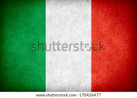 flag of Italy or Italian banner on paper rough pattern texture - stock photo