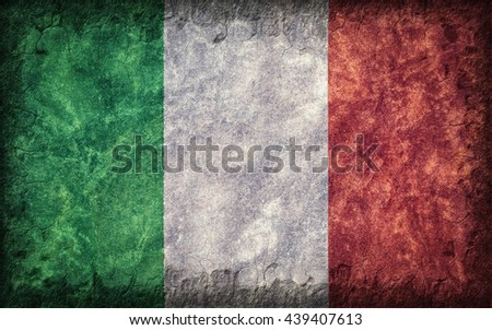 Flag of Italy painted onto a rough wall - stock photo