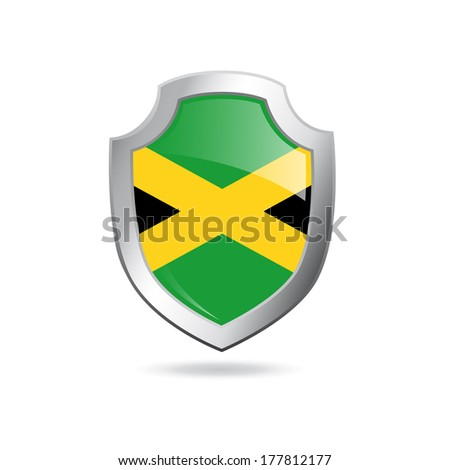 Flag of Jamaica on a metal shield isolated on white. - stock photo