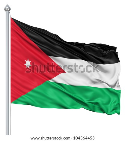 Flag of Jordan with flagpole waving in the wind against white background - stock photo