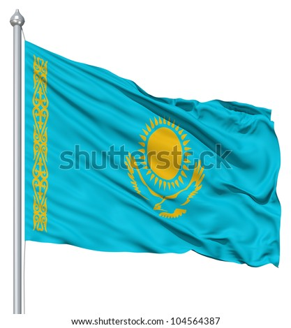 Flag of Kazakhstan with flagpole waving in the wind against white background - stock photo