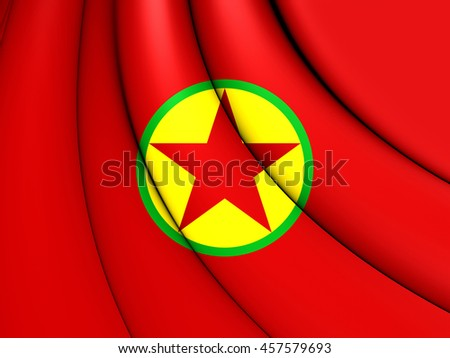 Flag of Kurdistan Workers' Party. 3D Illustration. - stock photo