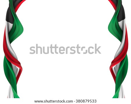 Flag of Kuwait gently twisted as a frame over a white background - stock photo
