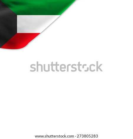 Flag of Kuwait located in the corner page - stock photo