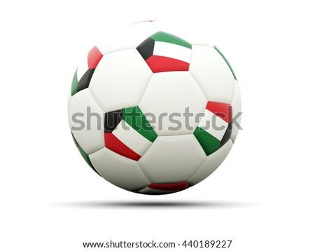 Flag of kuwait on football, isolated on white. 3D illustration - stock photo