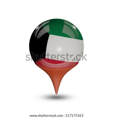 Flag of Kuwait pin isolated on white. - stock photo