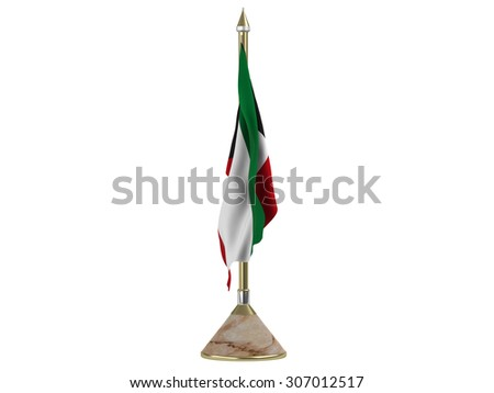 Flag of Kuwait with flagstaff of metal gold and silver on base in precious italian marble - stock photo