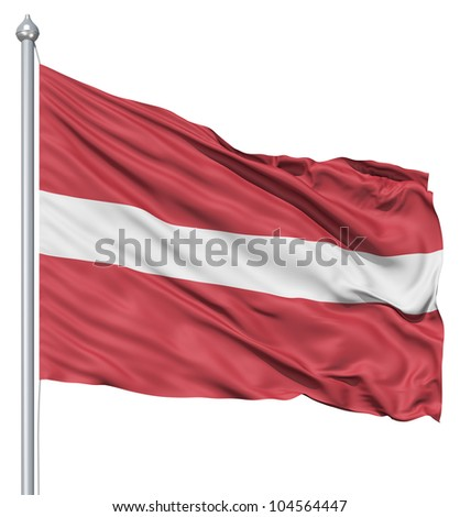 Flag of Latvia with flagpole waving in the wind against white background - stock photo