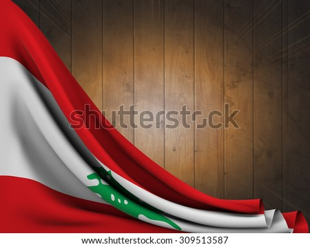 Flag of Lebanon on wooden table with flash of light - stock photo