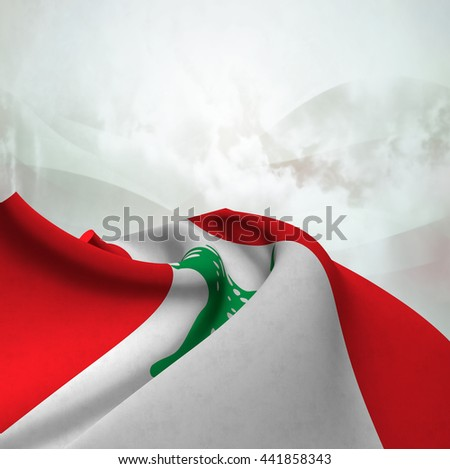 Flag of Lebanon silky,  fantastic close up shot ,masterfully folded  and resting on an abstract background-3d rendering - stock photo