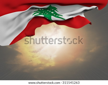 Flag of Lebanon waving and fluttering on spectacular sun beaming through the clouds background - stock photo