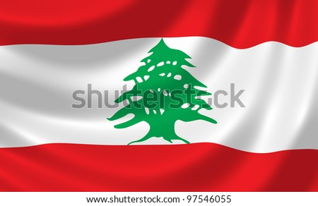 Flag of Lebanon waving in the wind detail - stock photo