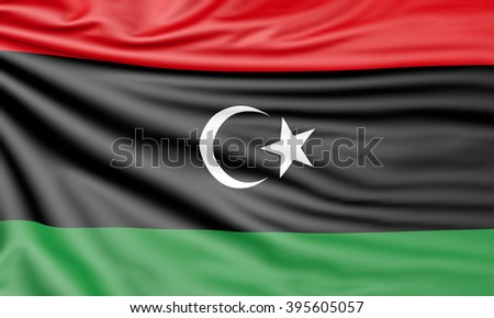 Flag of Libya, 3d illustration with fabric texture - stock photo