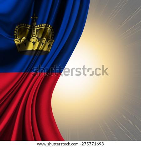 Flag of Liechtenstein ,  Principality of Liechtenstein on sunlight background - stock photo
