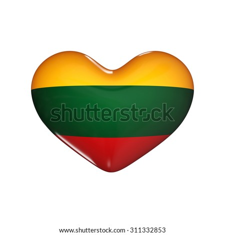 flag of Lithuania on the heart. 3d render illustration - stock photo
