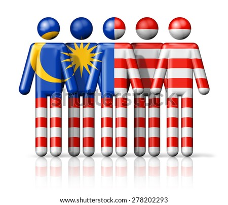 Flag of Malaysia on stick figure - national and social community symbol 3D icon - stock photo