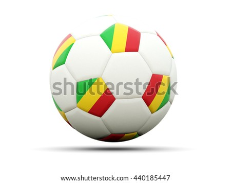 Flag of mali on football, isolated on white. 3D illustration - stock photo