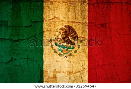 Flag of Mexico grunge cracked paint effect - stock photo