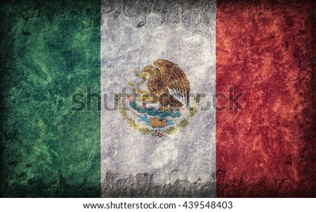 Flag of Mexico painted onto a rough wall - stock photo