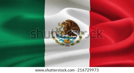 flag of Mexico waving in the wind. Silk texture pattern - stock photo