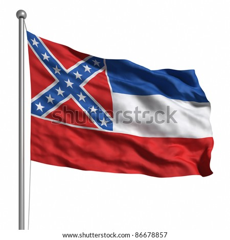 Flag of Mississippi. Rendered with fabric texture (visible at 100%) - stock photo