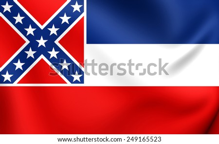 Flag of Mississippi, USA. Close Up.  - stock photo
