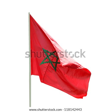Flag of Morocco fluttering in the wind - isolated on white background - stock photo