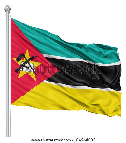 Flag of Mozambique with flagpole waving in the wind against white background - stock photo