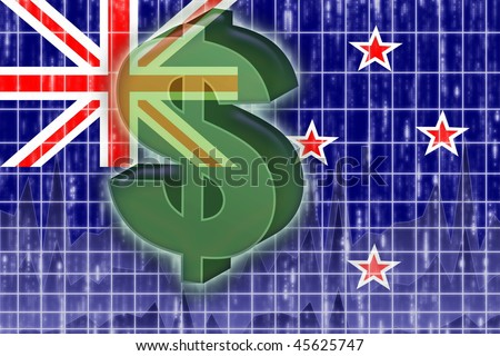 Flag of New Zealand, national country symbol illustration finance economy dollar - stock photo