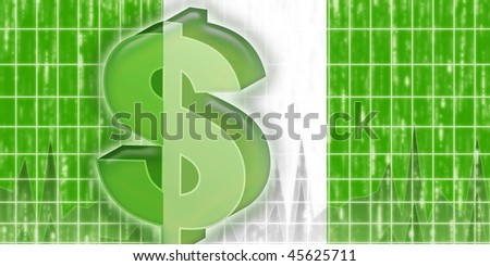 Flag of Nigeria, national country symbol illustration finance economy dollar - stock photo