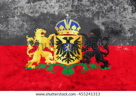 Flag of Nijmegen with Coat of Arms, Netherlands, with a vintage and old look - stock photo