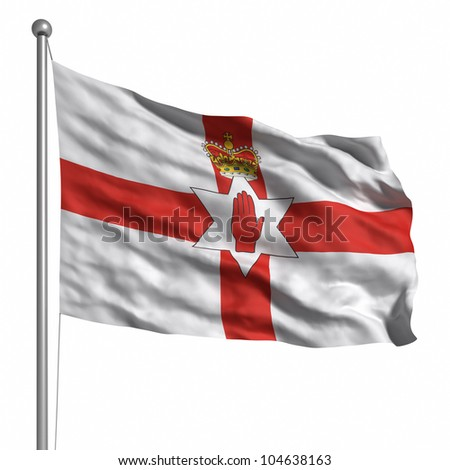 Flag of Northern Ireland. Rendered with fabric texture (visible at 100%). Clipping path included. - stock photo
