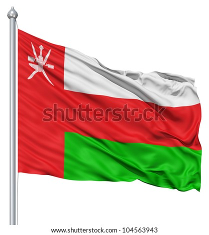 Flag of Oman with flagpole waving in the wind against white background - stock photo