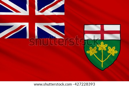 Flag of Ontario is one of the ten provinces of Canada - stock photo