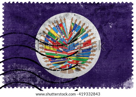 Flag of  Organization of American States, old postage stamp - stock photo
