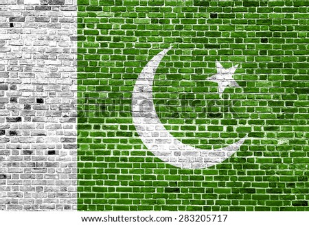 Flag of Pakistan painted on brick wall, background texture - stock photo