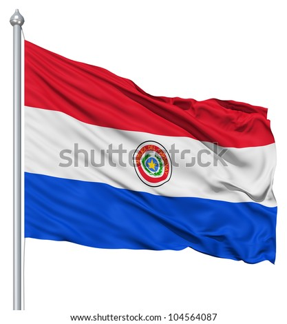 Flag of Paraguay with flagpole waving in the wind against white background - stock photo