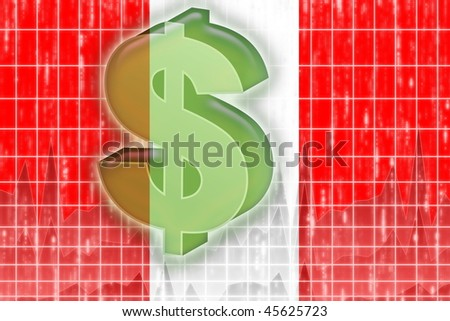 Flag of Peru, national country symbol illustration finance economy dollar - stock photo