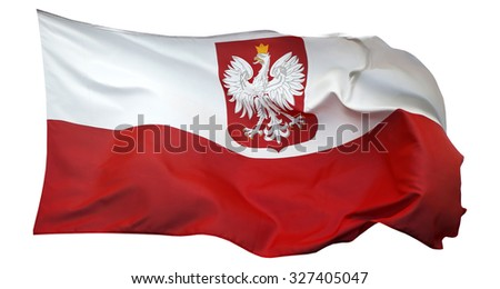 Flag of Poland, isolated on white background - stock photo